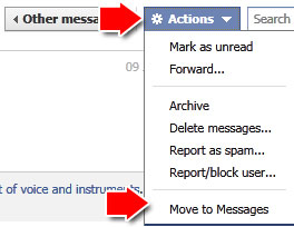Facebook move to messages
